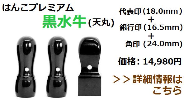 黒水牛の法人印鑑セット(天丸)